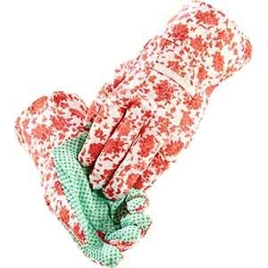 Gartenhandschuh mit roten Blüten