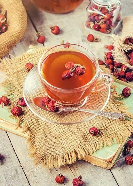Getrocknete Hagebutten in einem Tee © GettyImages
